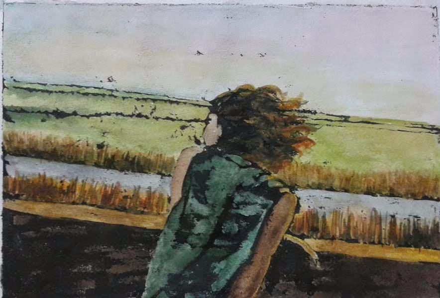 muchacha con el cabello al viento