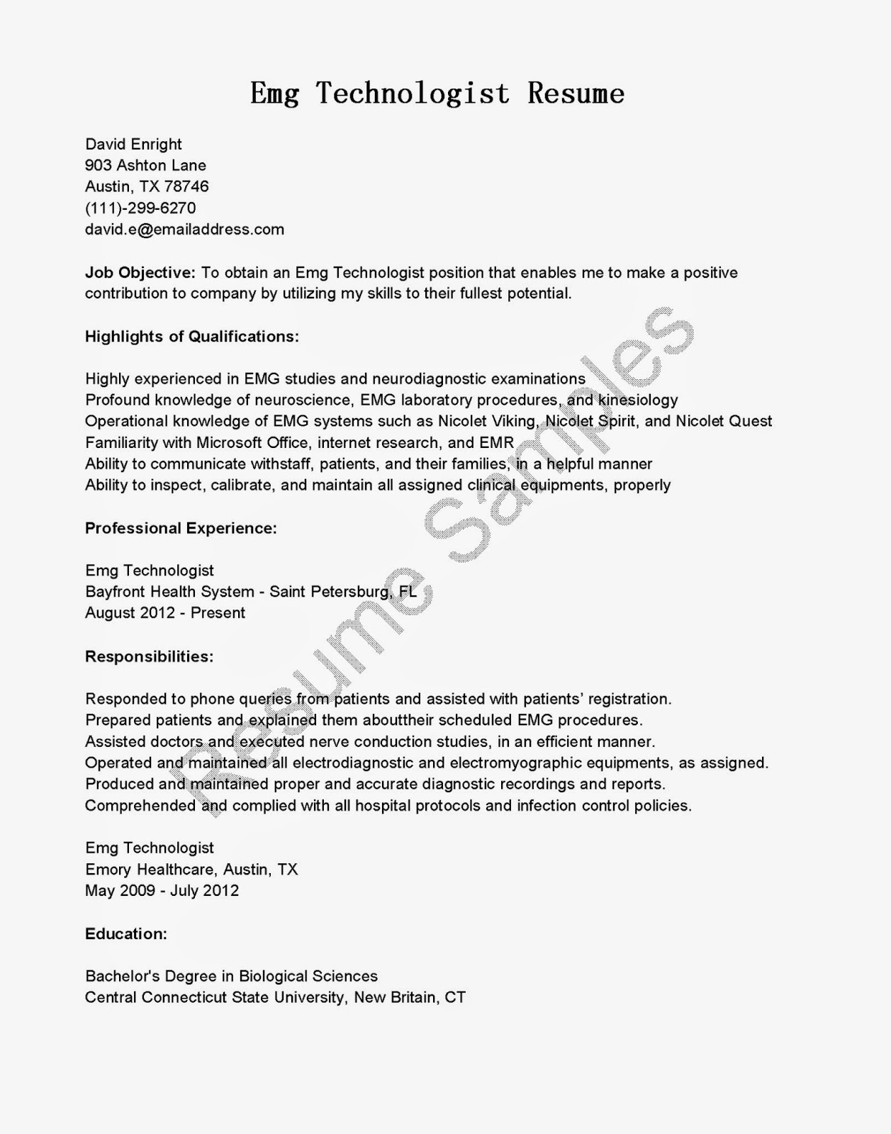 resume samples emg technologist resume sample