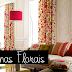 Cortinas florais na decoração de salas