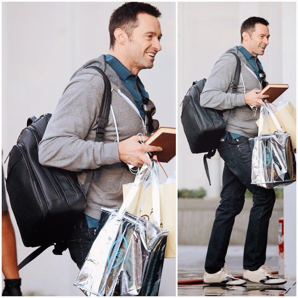 Hugh Jackman carries Montblanc Extreme Leather Collection Rucksack Backpack 14th November 2014 New York City