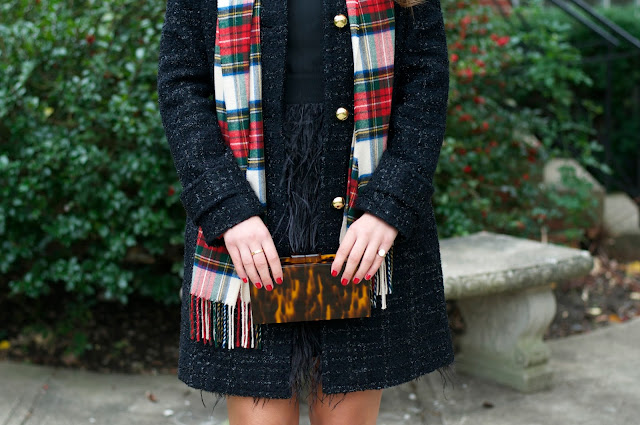 Plaid Scarf and Feathered Dress