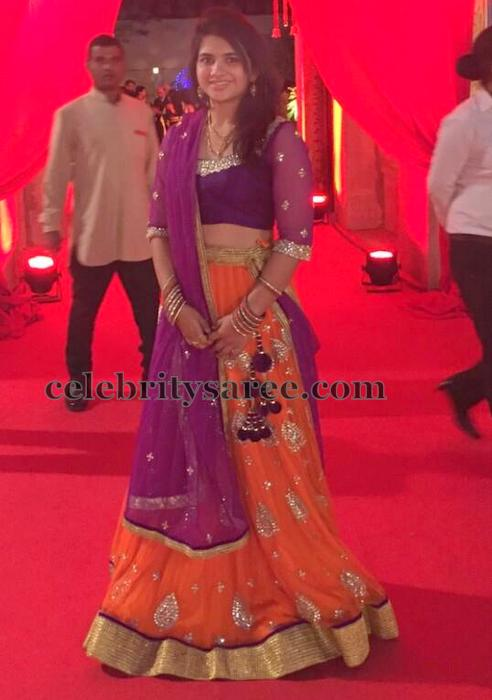 Bride in Orange and Purple Lehenga