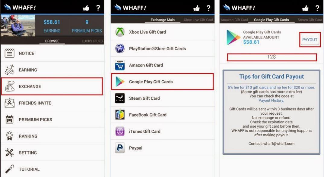 Pengambilan Uang Melalui Google Play Gift Cards