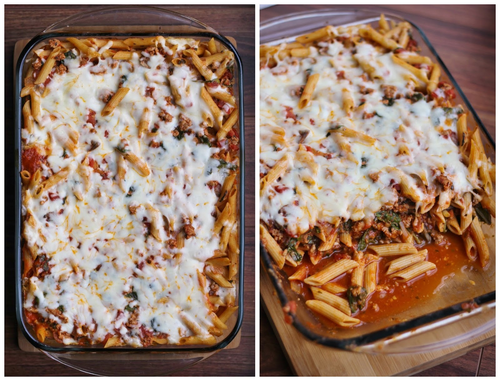 baked whole wheat pasta with turkey, kale, mozzarella