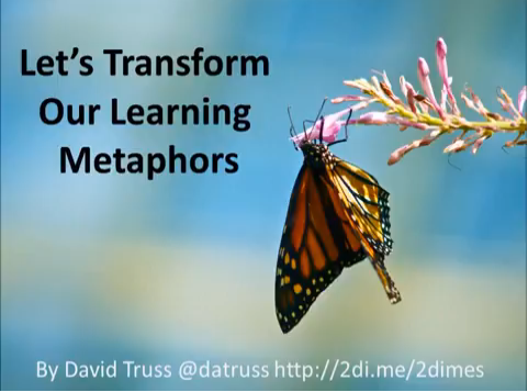 "Image of a butterfly with the caption ""Let's Transform Our learning Metaphors"""