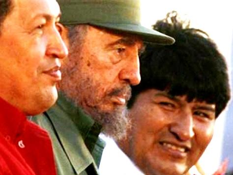 Evo Morales con Hugo Chávez y Fidel Castro