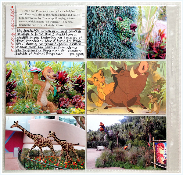 Project Mouse, Little Golden Book, The Lion King, Epcot - Disney inspired memory keeping | www.anyhappylittlethoughts.com