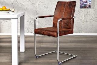 luxusna stolicka v hnedej vintage eko kozi