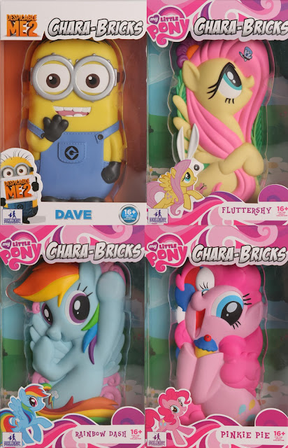 San Diego Comic-Con 2013 Exclusive Chara-Brick Vinyl Figures by Huckleberry - Despicable Me 2 Minion & My Little Pony Fluttershy, Rainbow Dash & Pinkie Pie