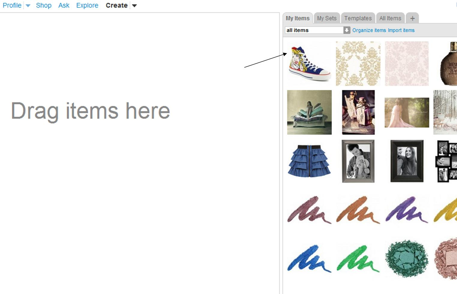 how to add to my items on polyvore