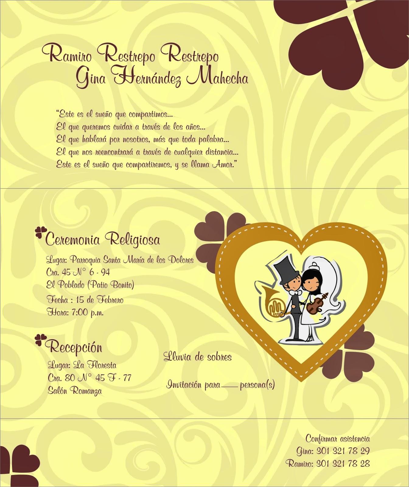 Tarjeta matrimonio alejasierra for Disenos para tarjetas