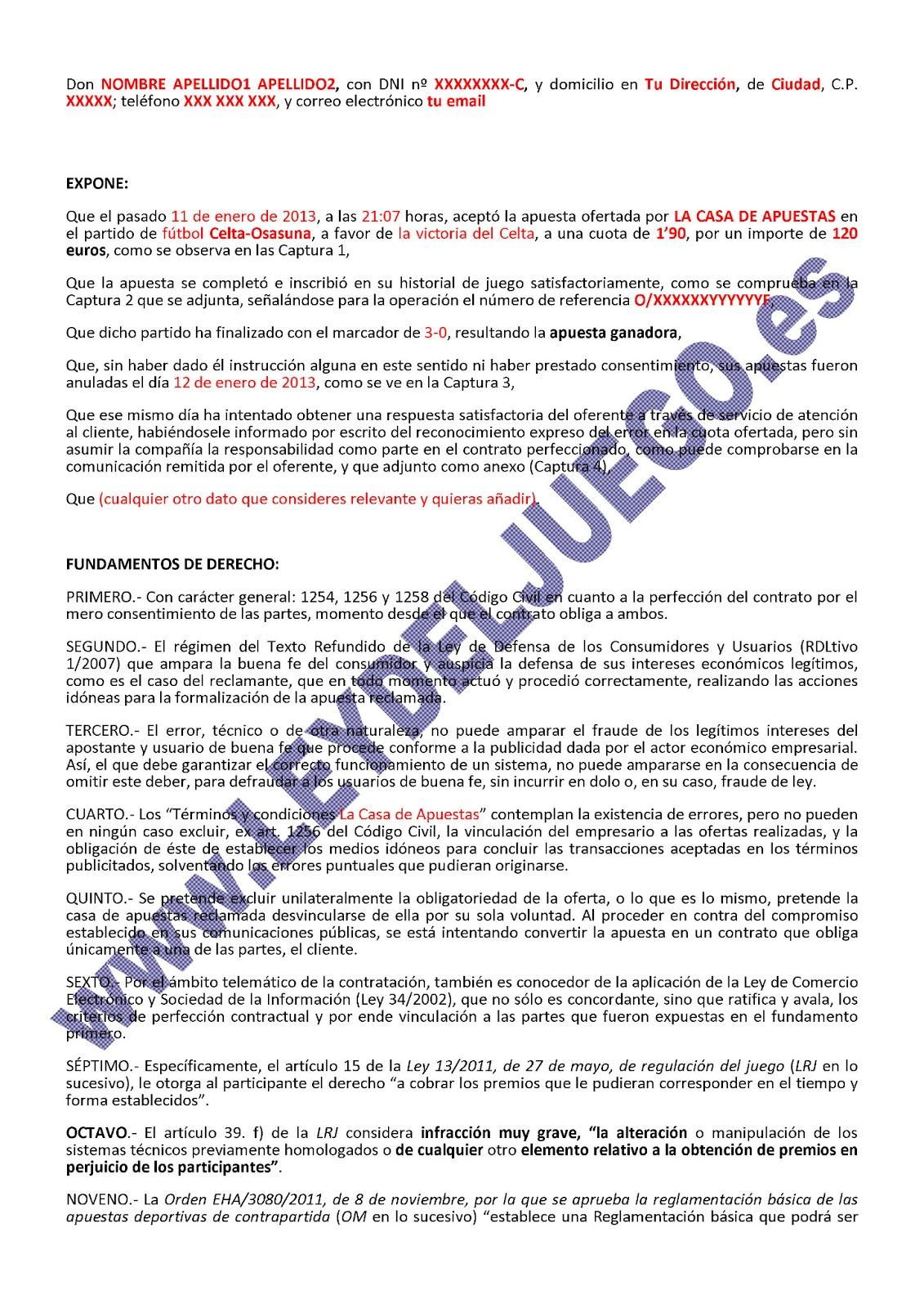 Modelo de Reclamación: Anulación de apuestas   LEY del JUEGO   Las ...