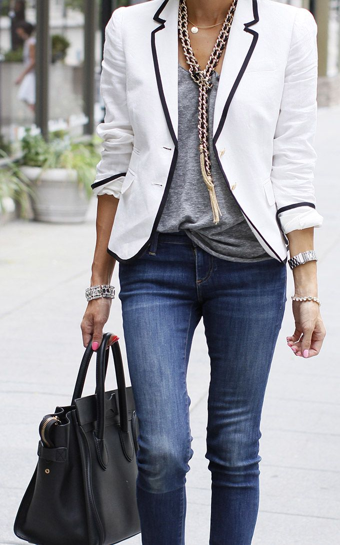 Latest street fashion with white blazer