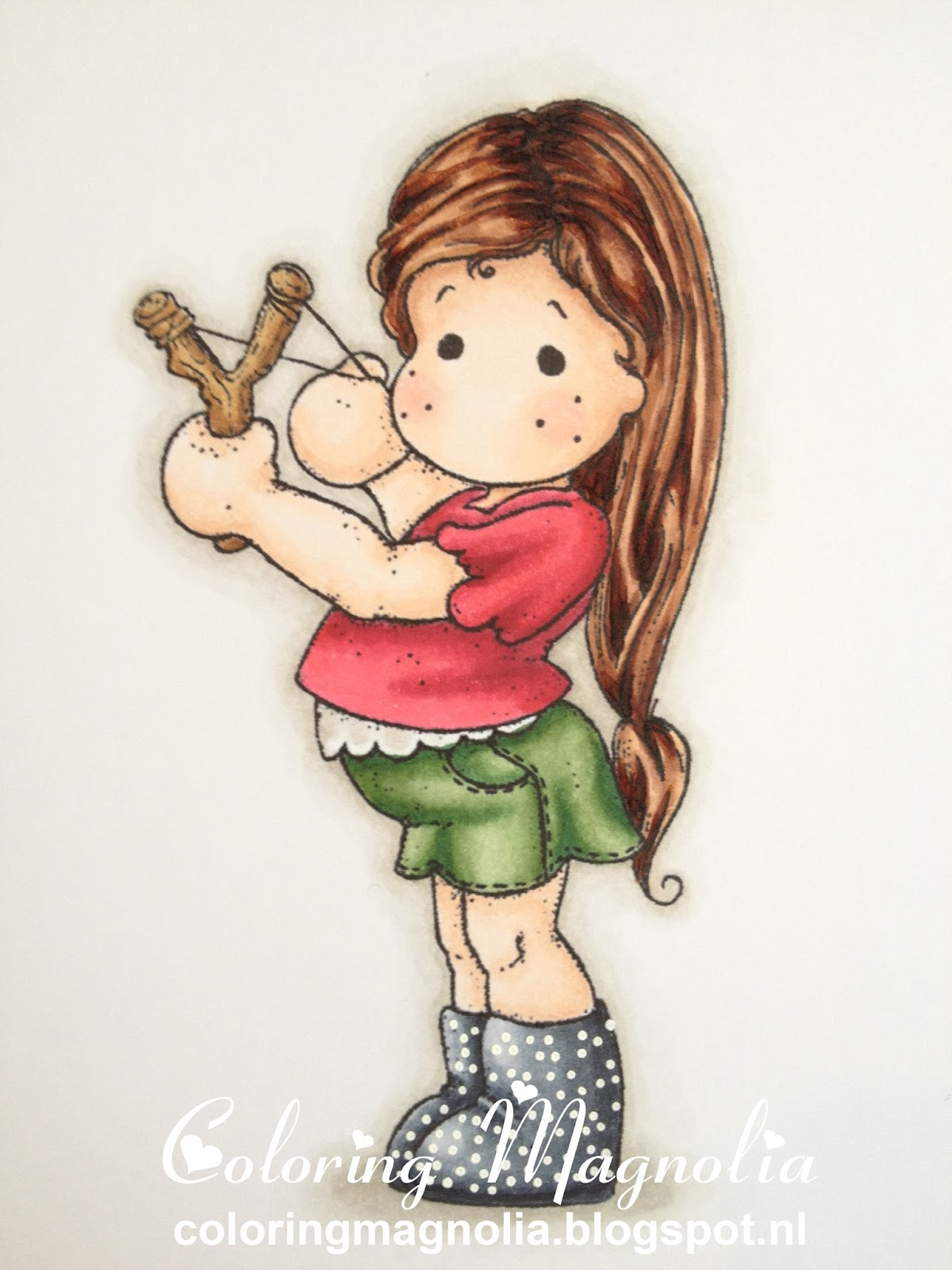 Coloring Magnolia Stamp 2013 With Love Collection - Tilda With Slingshot