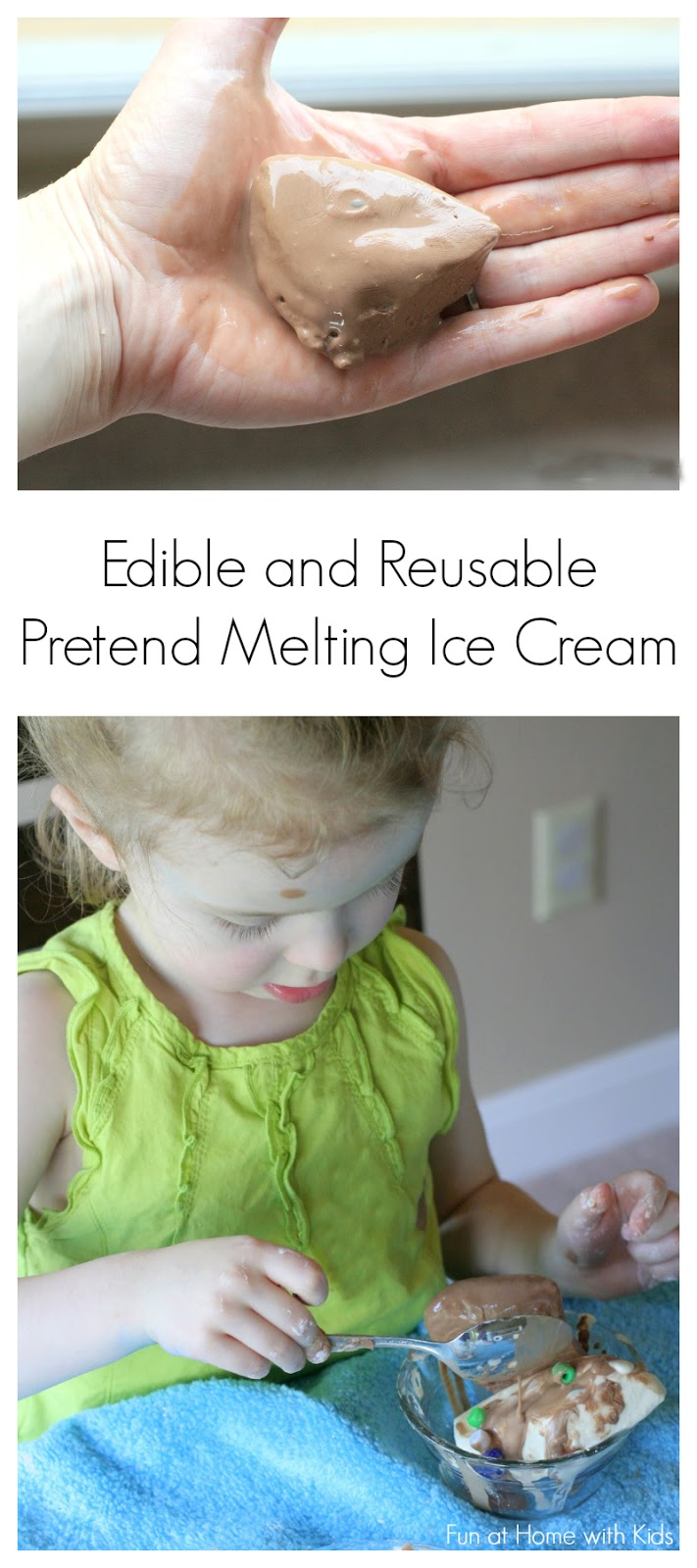 "A fun pretend frozen ""dough"" that melts like real ice cream.  Smells just like the real thing - and is edible (taste-safe) and also reusable (refreezable).  From Fun at Home with Kids"