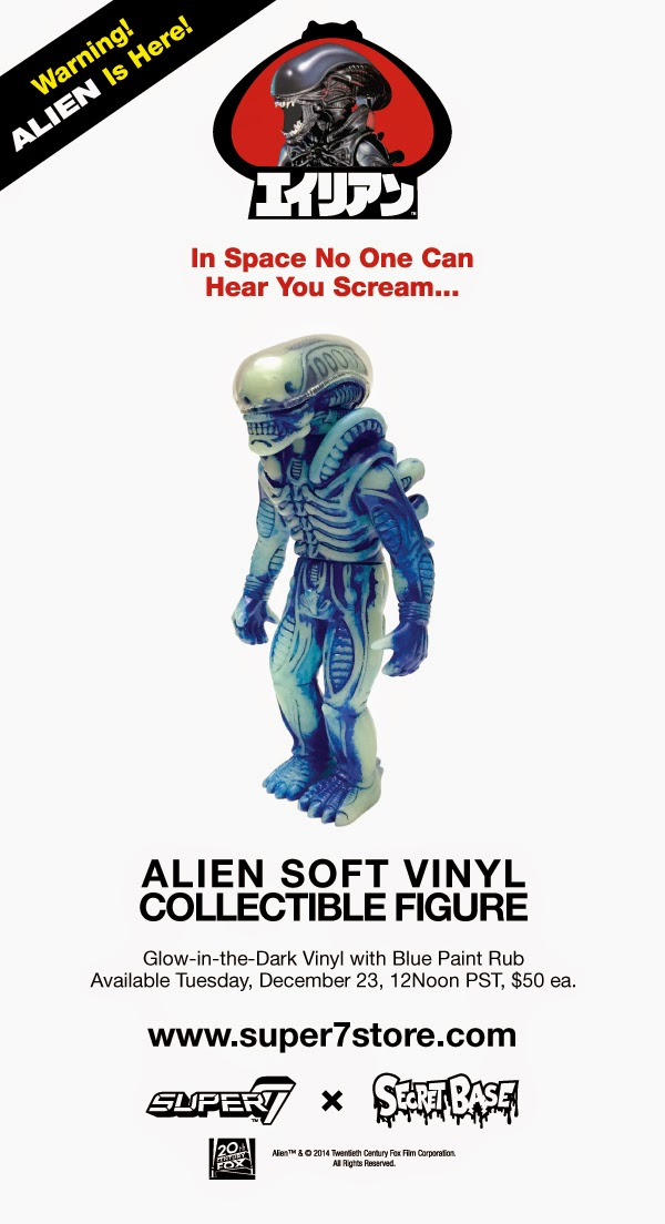 Glow in the Dark with Blue Rub Alien Popy Vinyl Figure by Super7 & Secret Base
