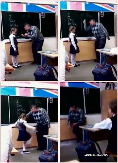 (Video + Gambar) Gara-Gara Kena Marah, Pelajar Perempuan Tendang Kemaluan Cikgu