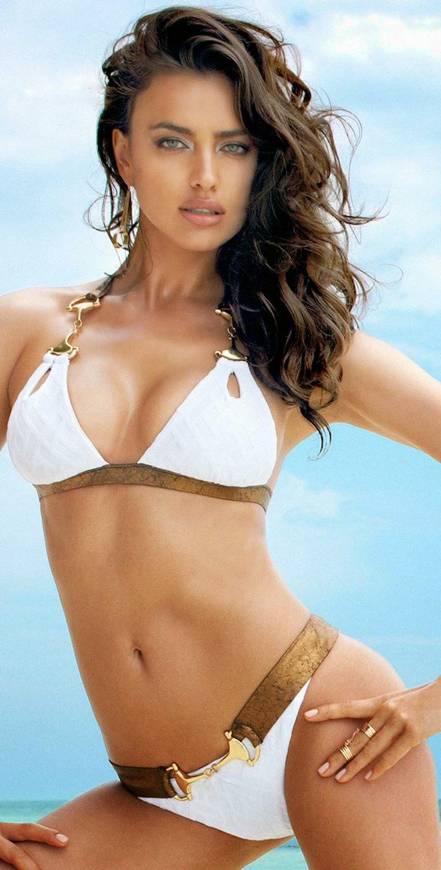 Irina Shayk in White and Gold Bikini