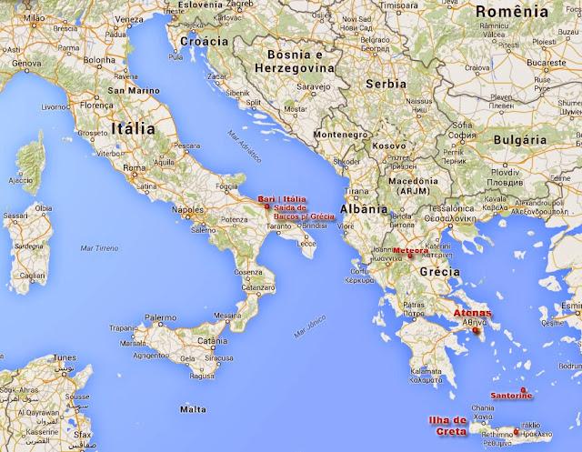 Mapa da Grécia, Ilhas Gregas e paises vizinhos