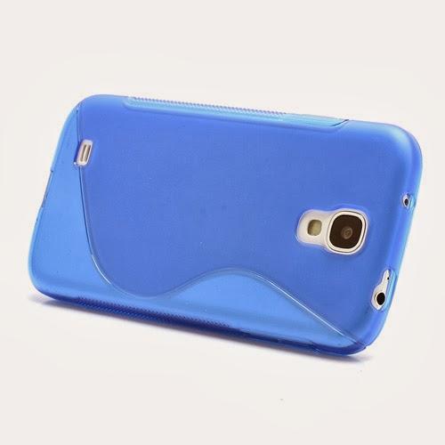 S-Curve Soft TPU Jelly Case for Samsung Galaxy S 4 IV i9500 i9502 i9505 - Blue Transparant