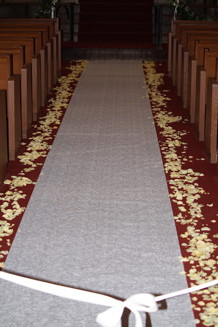 white rose petal aisle