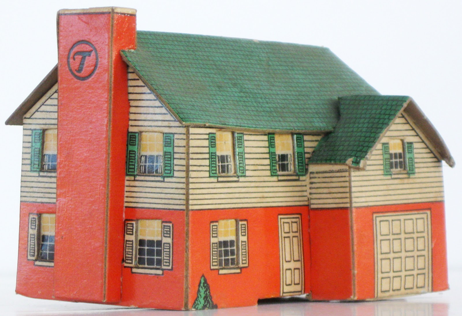 Toys and stuff built rite 1940s 2 story house w garage for 2 story house with garage