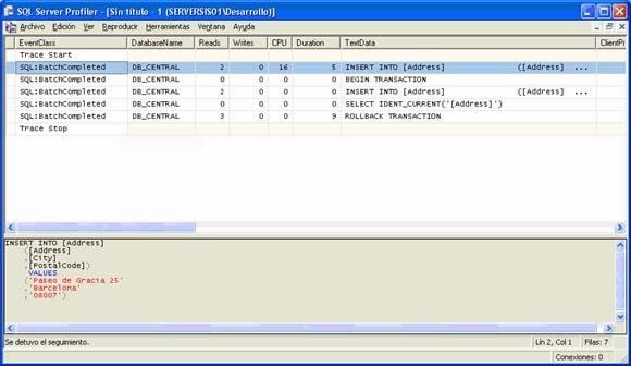 Transacciones en SQLProfiler, traza ejecutada