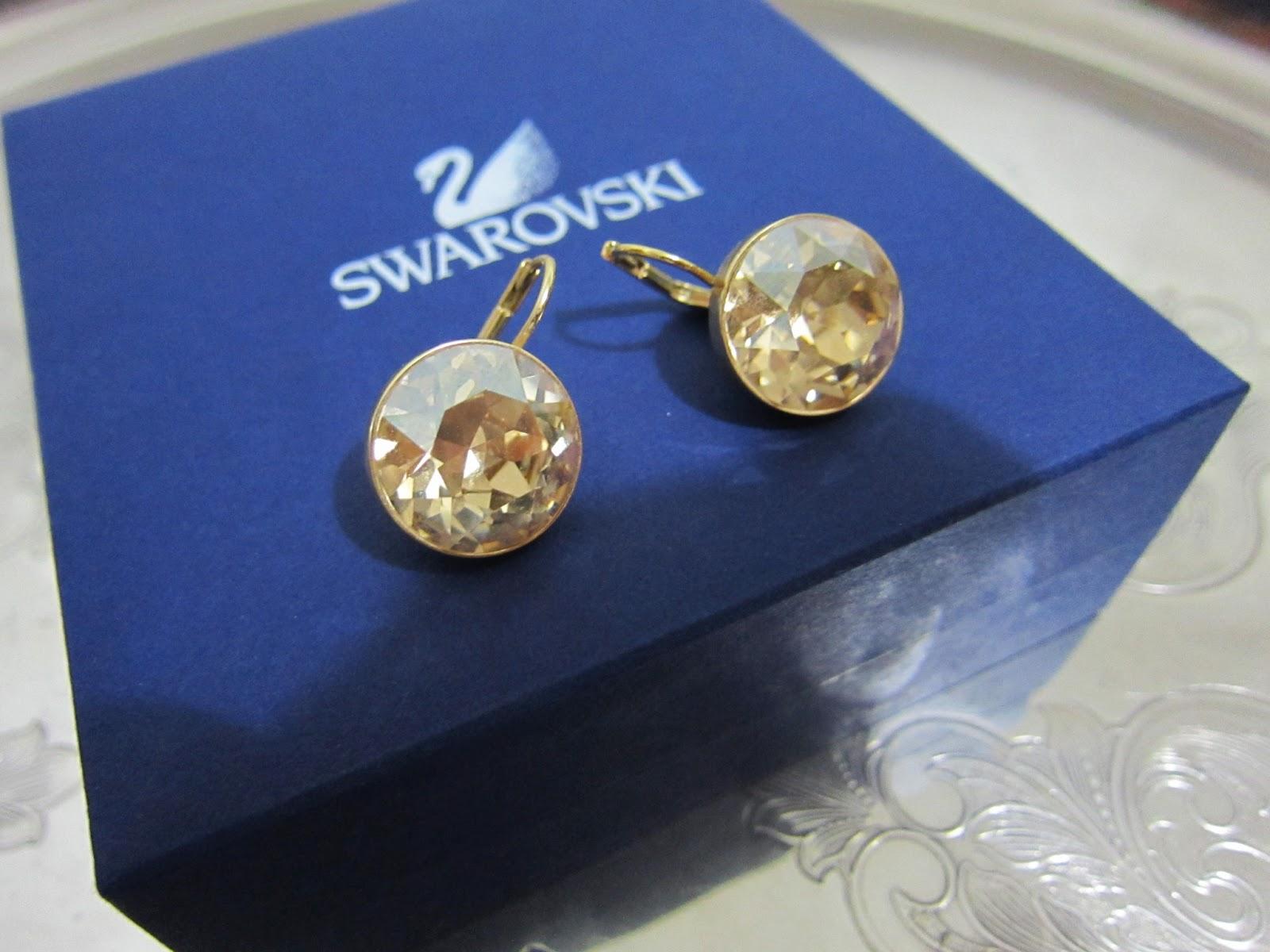 Swarovski Bella Golden Shadow Pierced Earrings
