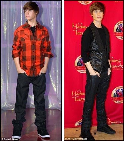 bieber waxwork. Bieber waxworks were unveiled