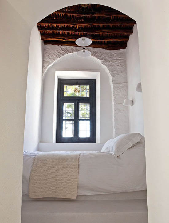 Neo rustic bedroom | Private residence designed by Tina Komninou In Hydra, Greece. Photo by  Michael Koronis via Yatzer