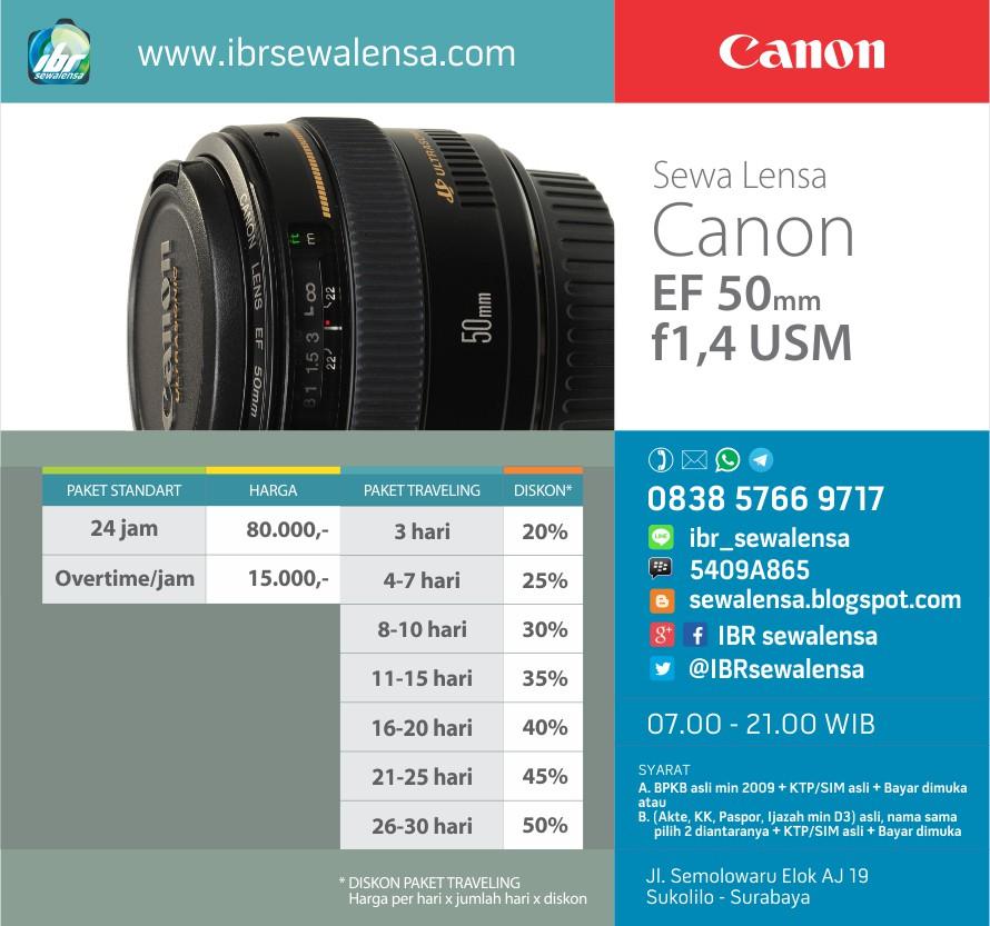 Harga sewa lensa Canon 50 mm F1.4 USM