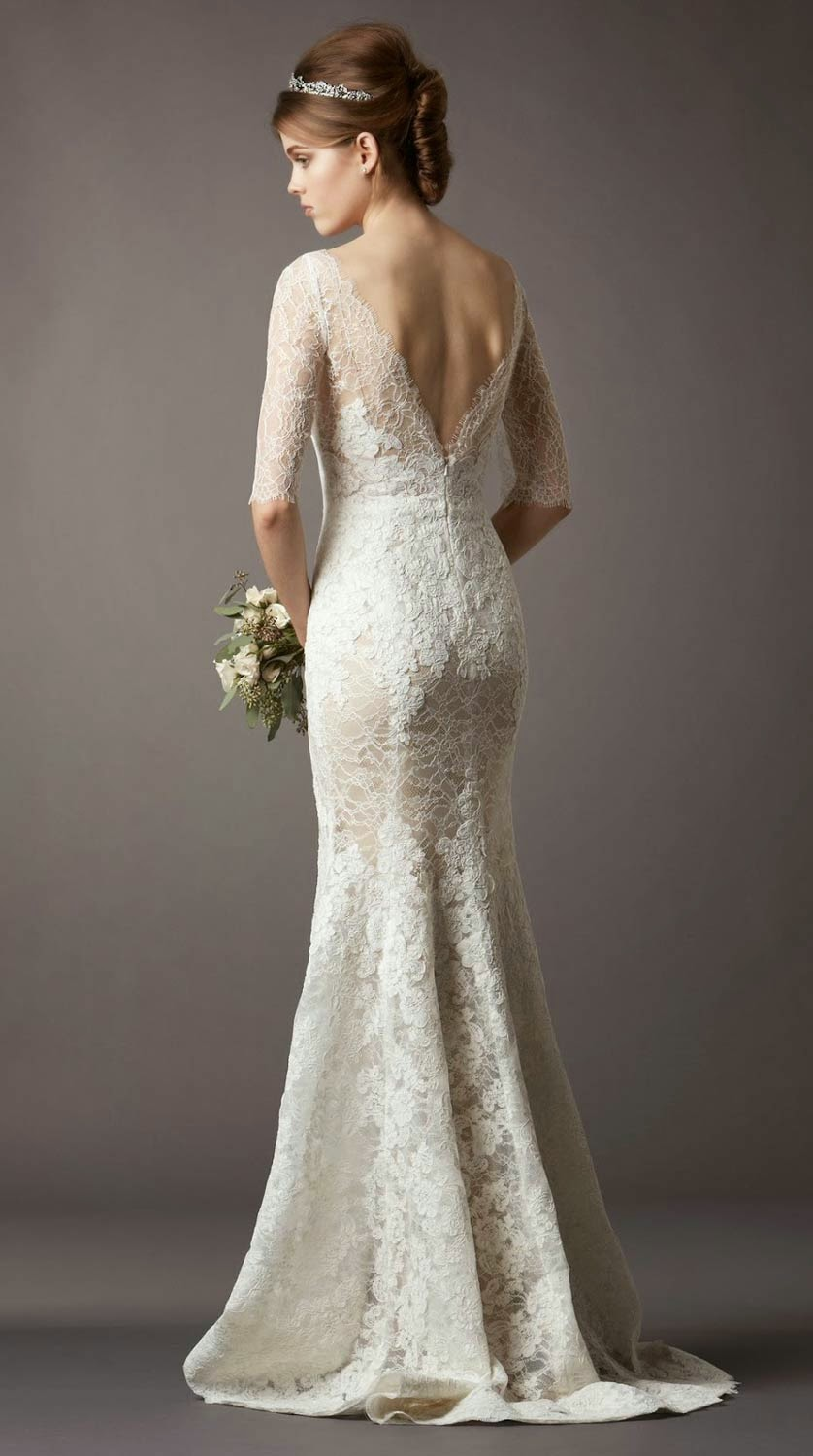 Expensive white lace long wedding dresses with half for Wedding dresses with half sleeves