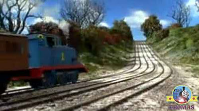 Thomas the train Clarabel and Annie steaming up snow coved steep main line express Gordon's hill