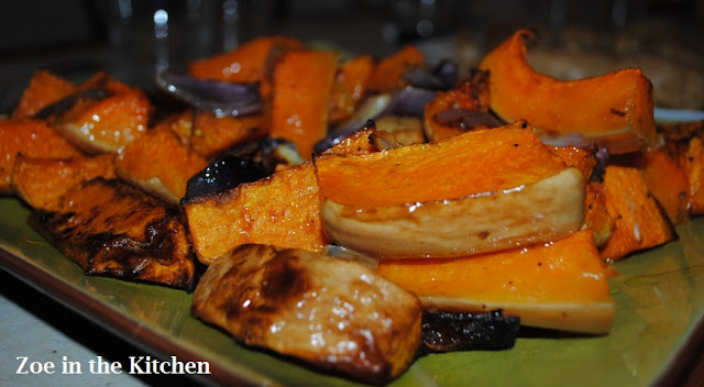 ... sofrito, roasted butternut squash, red onions with tahini and za'atar