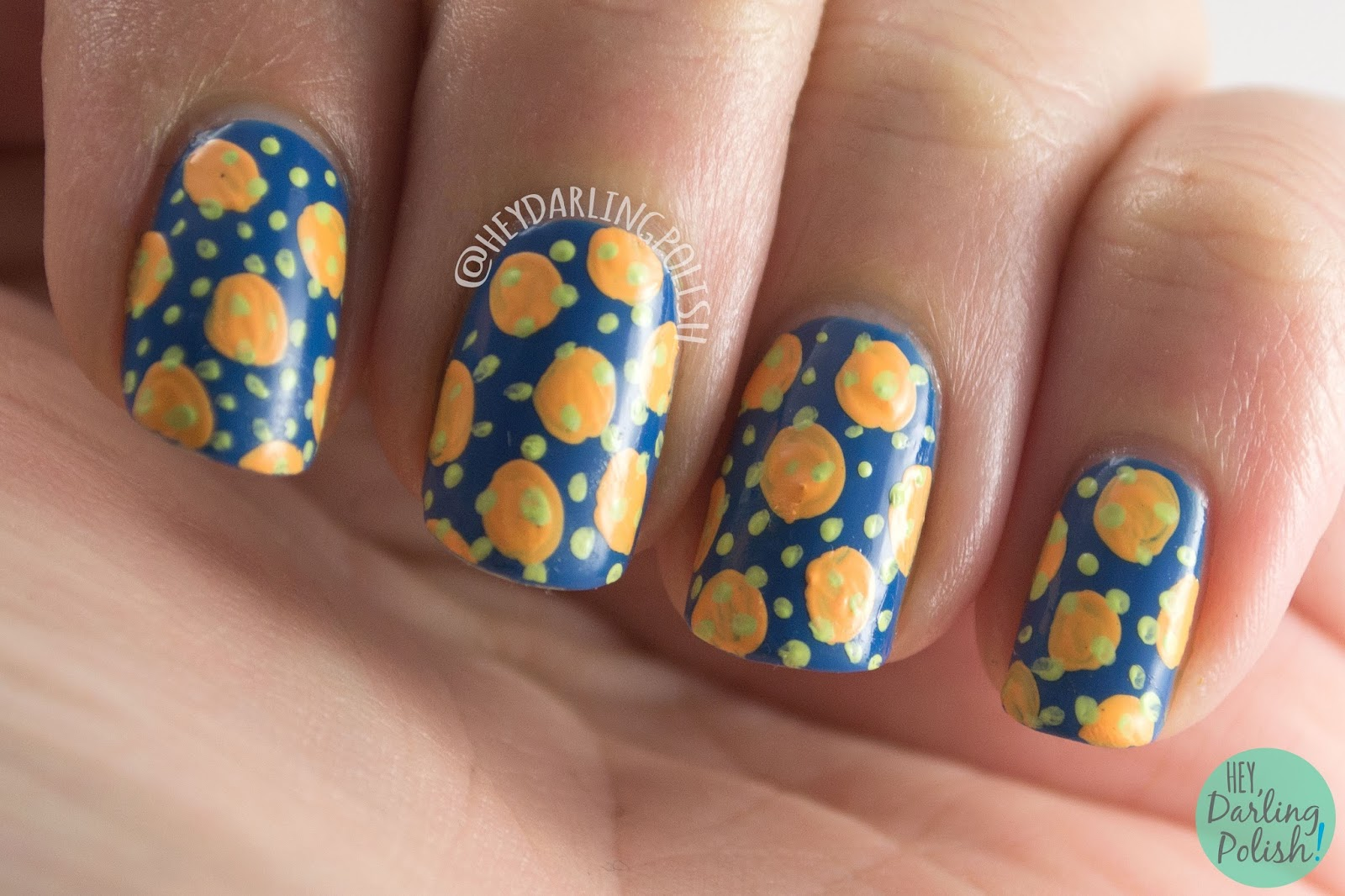 nails, nail art, nail polish, polka dots, hey darling polish, blue, contrast, complement, 2015 cnt 31 day challenge