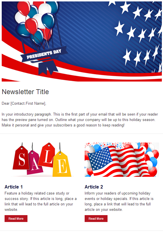 Campaigner Email Marketing President's Day Newsletter Template