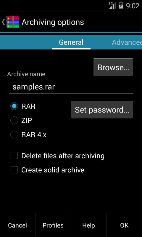 Pilihan mengkompres file