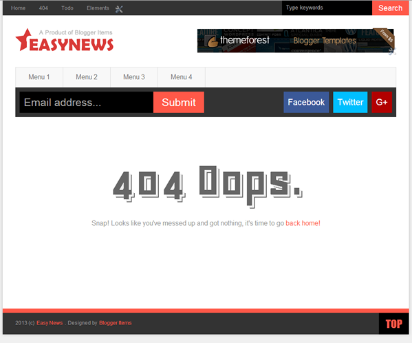 Custom 404 Page - Easy News – Free Responsive Magazine Blogger Template