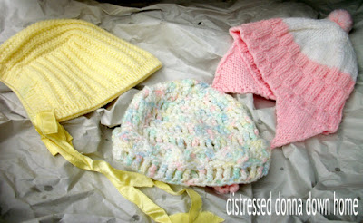 vintage baby caps and jackets, crochet, knit, nursery