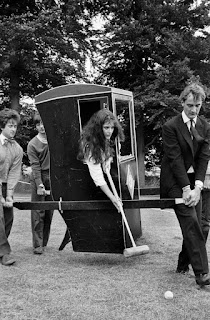 nigella lawson playing croquet, Oxford, 1980s, carriage