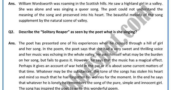 the solitary reaper a response Together with i wandered lonely as a cloud, the solitary reaper is one of wordsworth's most famous poem it is a lyrical ballad, a form of popular verse which contains a natural delineation of human passions and feelings and employs a simple metrical pattern.