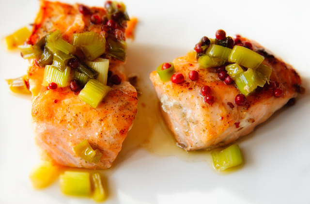 Salmon Meets Peppers and Onions