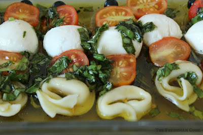 tortellini, fresh basil, tomatoes, vinaigrette