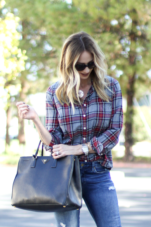 fall uniform plaid with skinny jeans