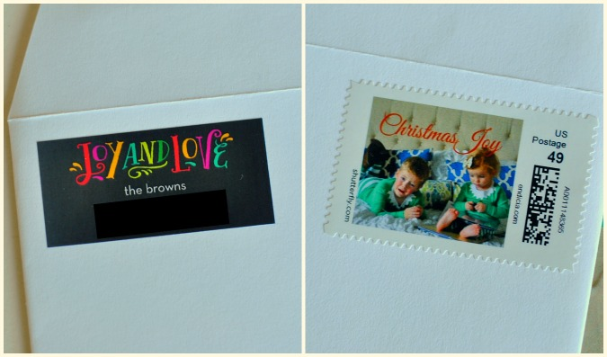 christmas cards matching address label personalized stamp