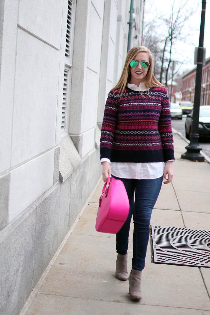 loft fairisle sweater, loft fair isle sweater, navy and pink fairisle sweater, boston fashion blogger, blogger fairisle sweater, blogger fair isle sweater