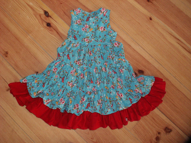 Dress, turqoise, red, butterflies, birds, twirl