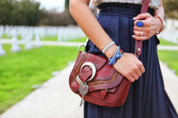 Pleated Skirt, Tory Burch Top, Metallic heels, ONecklace pendant, Friendship bracelets, Tanvii.com