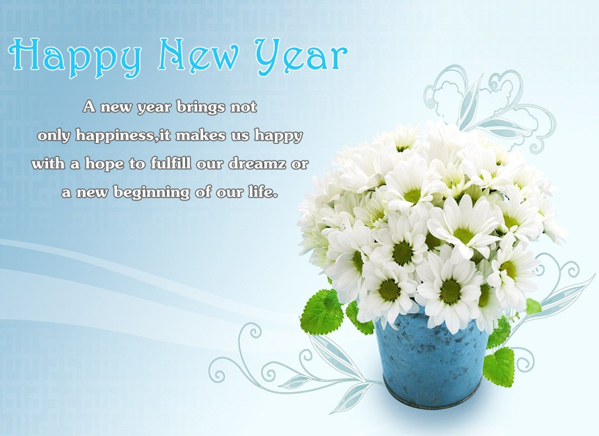 Happy New Year Flowers Image