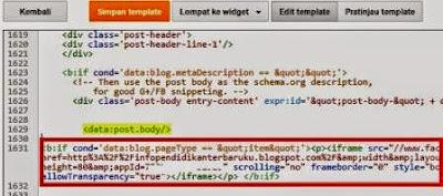 gambar Cara Memasang kode Tombol Like Facebook di blog